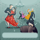 Пары танцев и игрок аккордеона иллюстрация вектора