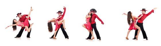 Пары танцоров изолированных на белизне Стоковое Изображение
