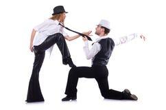 Пары танцоров танцуя изолированный современный танец Стоковое Изображение RF