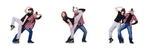 Пары танцоров танцуя современные танцы Стоковое Фото