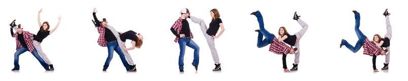 Пары танцоров танцуя современные танцы Стоковое Изображение