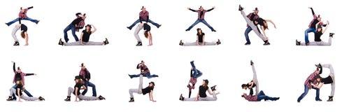 Пары танцоров танцуя современные танцы Стоковая Фотография RF