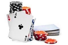 Пары тузов и обломоков покера Стоковое фото RF