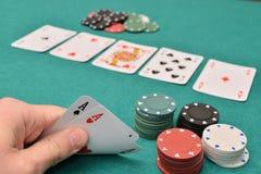 пары тузов на играя в азартные игры таблице Стоковое Фото