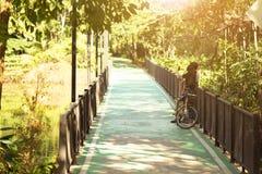 Пары фото пар в велосипед пути на общественном парке с стоковое изображение rf