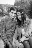 Пары фото любящие на озере Стоковое Фото