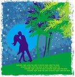 Пары целуя - абстрактная карточка Стоковое Изображение