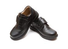 Пары черного кожаного ботинка для детей Стоковая Фотография RF