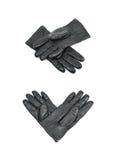 Пары черных кожаных изолированных перчаток Стоковое Изображение