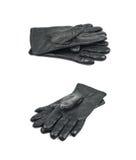Пары черных кожаных изолированных перчаток Стоковое Изображение RF