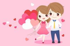 Пары шаржа принимают воздушный шар сердца Стоковое Изображение