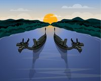 Пары шлюпки дракона на море в заходе солнца иллюстрация вектора