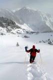Пары людей в экспедиции зимы горы Стоковые Фото