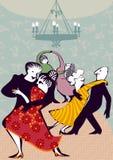 Пары Doodle dancning иллюстрация вектора