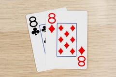 Пары eights 8 - казино играя карты покера стоковое фото