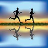 пары jogging иллюстрация вектора