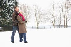 пары landscape старший снежный гулять стоковая фотография rf