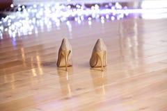 Пары ` s элегантных женщин золота высоко-накренили ботинки Стоковые Фотографии RF