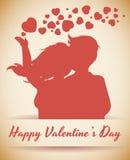 Пары Silhouette с сердцами, иллюстрацией вектора Стоковое Изображение