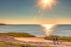Пары waling на пляже Стоковое Фото
