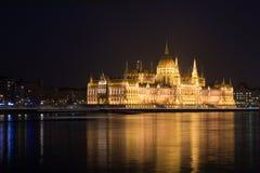 парламент ночи budapest Стоковое Фото