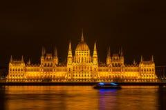 парламент ночи budapest Стоковое Изображение
