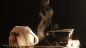 Пар кофе сток-видео