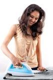 пар утюга электрической девушки индийский Стоковое Изображение