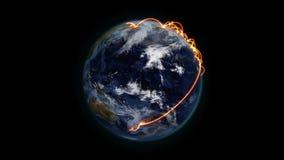 Пасмурная земля с оранжевыми соединениями в движении с учтивостью изображения земли NASA org иллюстрация штока
