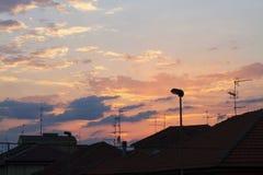 Пасмурное небо захода солнца Стоковое Фото