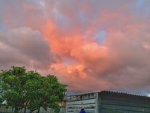 пасмурное померанцовое небо Стоковые Изображения RF