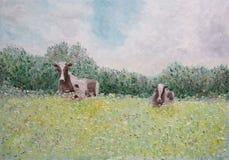 пасмурное поле коров сценарное Стоковые Фотографии RF