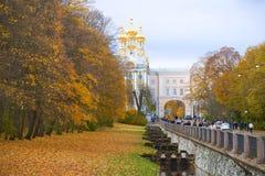 Пасмурный день в октябре в Tsarskoe Selo Стоковая Фотография RF