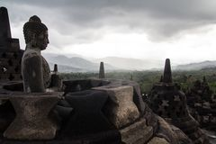 Пасмурный день на виске Borobudur Стоковая Фотография