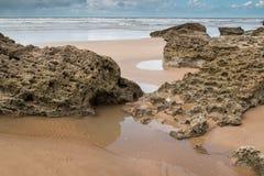 Пасмурный день на береге океана Стоковое фото RF