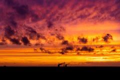Пасмурный заход солнца и тень здания Драматический красный желтый заход солнца над индустрией города заволакивает красный цвет Па стоковое изображение rf