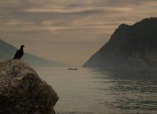 Пасмурный заход солнца озера Стоковое Изображение