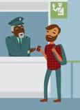 Паспортный контроль границы на авиапорте Стоковое фото RF