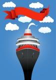 Пассажирский корабль в море иллюстрация вектора
