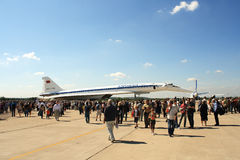 пассажирский самолет зазвуковой tu 144 двигателей Стоковая Фотография RF