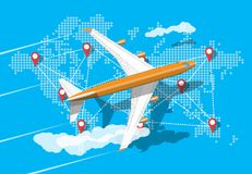 Пассажирский самолет, карта мира иллюстрация штока