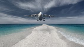 Пассажирский самолет летая низко в посадку попытки Стоковые Фотографии RF