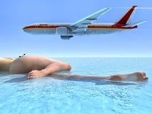 Пассажирский самолет и пляж Стоковое Фото