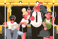 Пассажиры в вагоне метро бесплатная иллюстрация