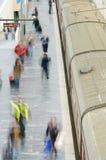 пассажиры в поезд Стоковое Фото