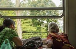 Пассажиры женщины смотря из окна поезда на Шри-Ланке Стоковая Фотография RF