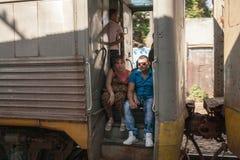 Пассажиры поезда Стоковое Фото