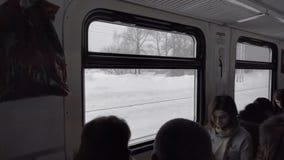 Пассажиры пригородного поезда видеоматериал