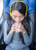Пассажир путешествуя на шине Стоковое Фото
