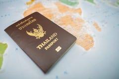 Пасспорты на карте мира Стоковое фото RF